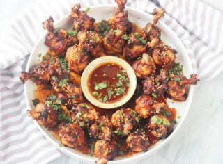 Whole30/ Paleo airfried lollipop  chicken and spicy pineapple dipping sauce