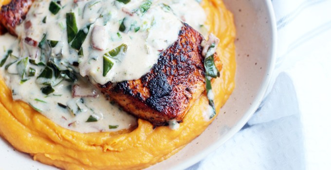 Whole30/Paleo pan-seared salmon with pureed sweet potatoes and collard green/bacon cream sauce