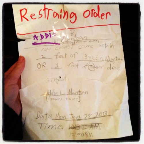 Yes, Byron hired Addie as his lawyer to draft this restraining order against his younger sister Edie. However, once Addie started bothering him, he wrote her name in instead. Frankly, between this and Fulton's speeding ticket, I starting to wonder who's really in charge around here.
