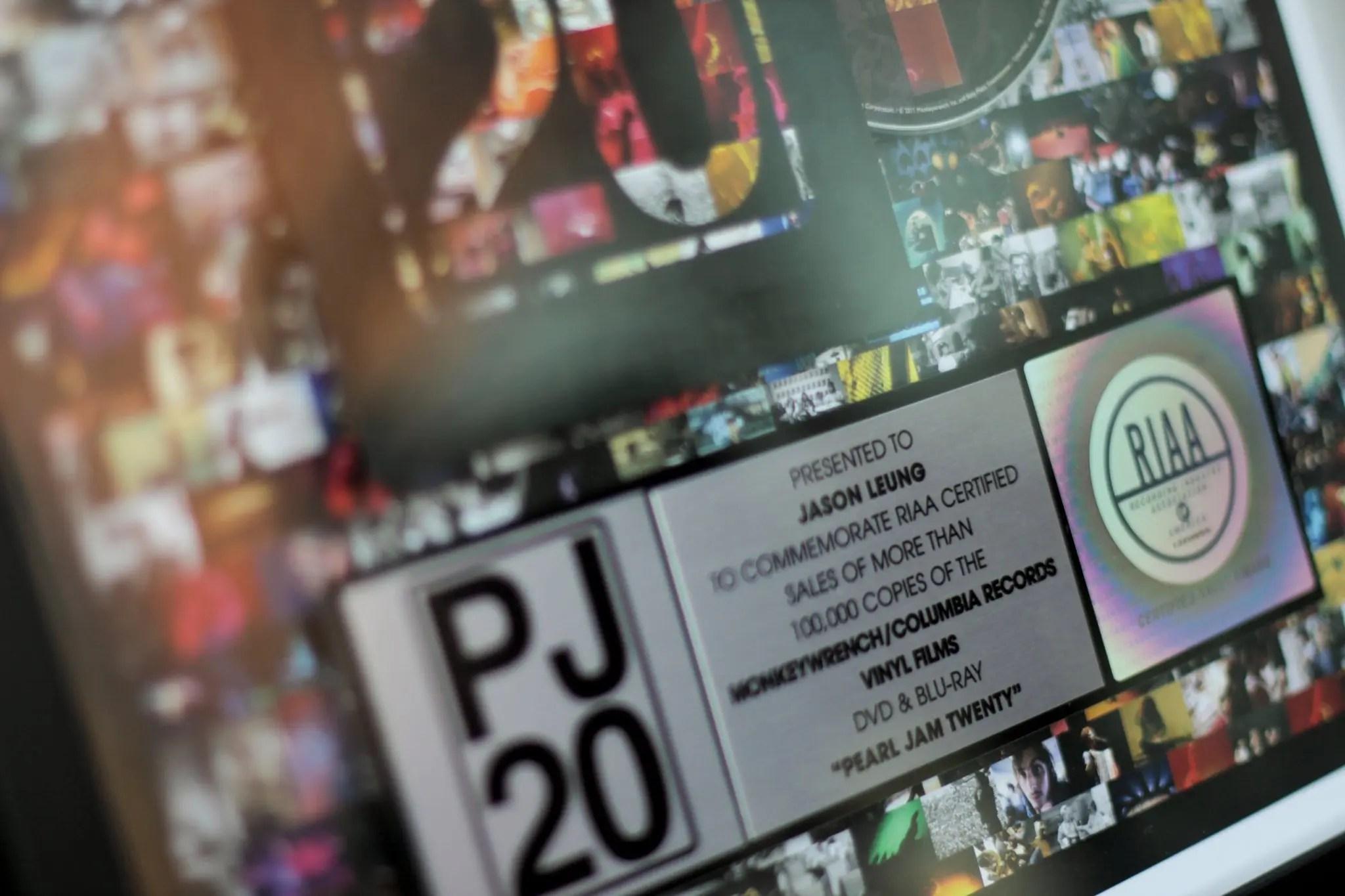 Pearl Jam Twenty RIAA Certified