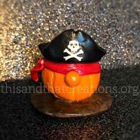 Gnome Pumpkin Pirate Figurine $10