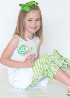Comfy Knit White Swing Top with Green Striped 3 Ruffles Capri Leggings
