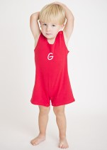 Red Knit Boys Shortall