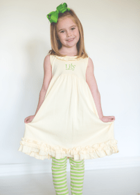 Comfy Knit Lt. Yellow & Green Tunic/Dress with Striped Leggings