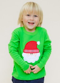 Boy's Green Knit Long Sleeve Holiday Shirt