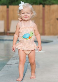 Girl's Turtle Applique Orange Seersucker Swimsuit