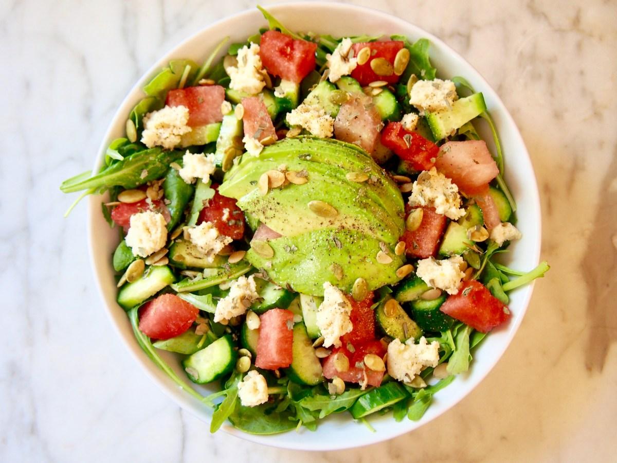 watermelon health benefits, vegan watermelon feta salad