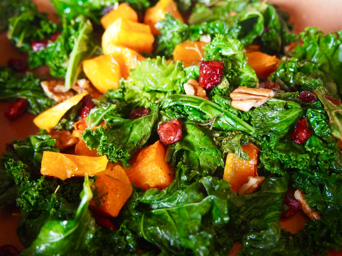 warm kale squash salad with rosemary vinaigrette vegan paleo dairy-free gluten-free recipe