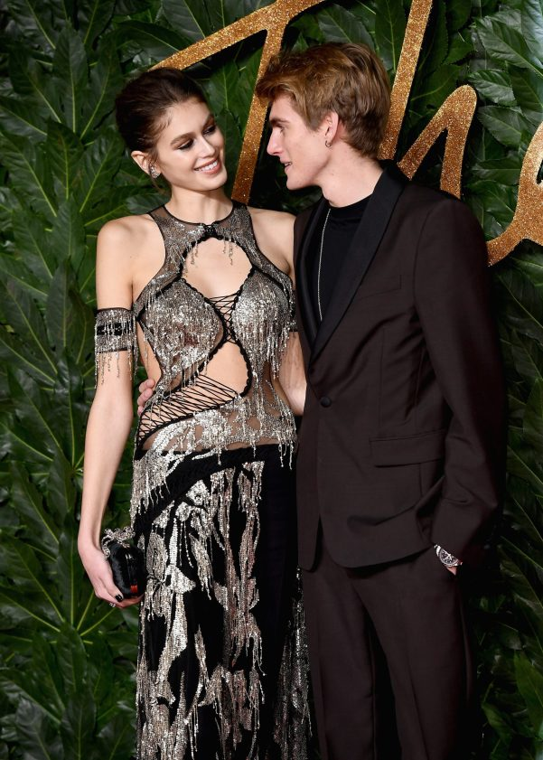 LONDON, ENGLAND - DECEMBER 10: Kaia Gerber and Presley Gerber arrive at The Fashion Awards 2018 In Partnership With Swarovski at Royal Albert Hall on December 10, 2018 in London, England. (Photo by Jeff Spicer/BFC/Getty Images for BFC)