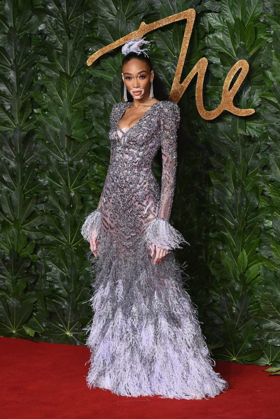 LONDON, ENGLAND - DECEMBER 10: Winnie Harlow arrives at The Fashion Awards 2018 In Partnership With Swarovski at Royal Albert Hall on December 10, 2018 in London, England. (Photo by Jeff Spicer/BFC/Getty Images for BFC)