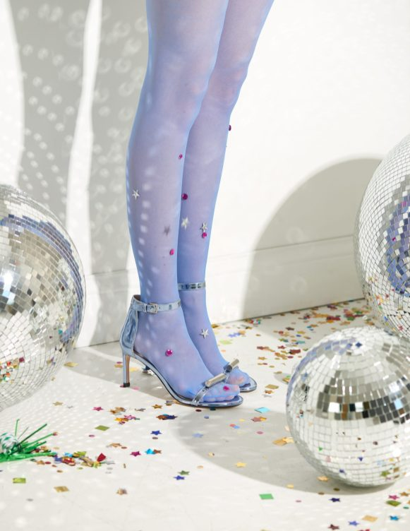Shoes: Stuart Weitzman | Stockings: Hand jeweled by Stylist