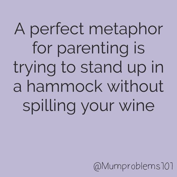 Funny parenting memes - hammock and wine