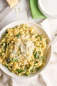 Brown-rice-with-spinach-and-Parmesan- 20 Cheap Dinner Ideas for When You Are Skint on Money, Food, or Time- This Blended Home of Mine