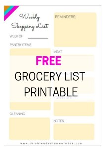 FREE GROCERY LIST PRINTABLE - This Blended Home of Mine