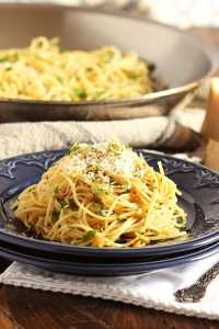 Spaghetti-Aglio-Olio- 20 Cheap Dinner Ideas for When You Are Skint on Money, Food, or Time- This Blended Home of Mine