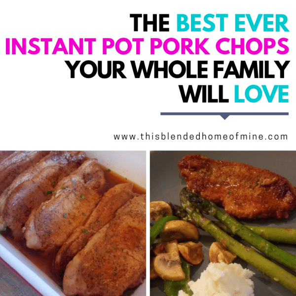 The Best Ever Instant Pot Pork Chops - This Blended Home of Mine - instant pot recipes pork chops boneless, served with mashed potatoes, asparagus, and mushrooms