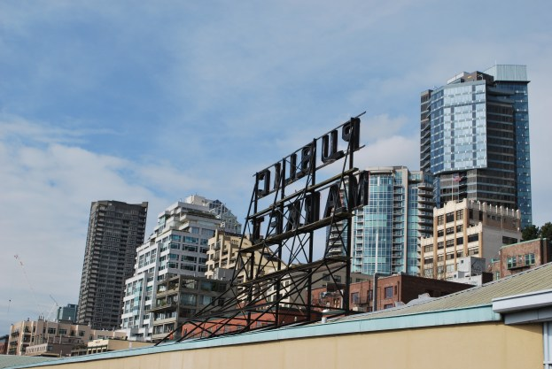 Pike Place Market Seattle. Iconic sign from a different perspective.