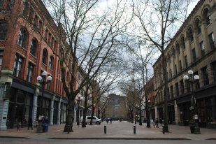 Pioneer Square Seattle pedestrian street view