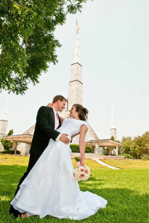 Tyler and Tara in front of the Dallas Texas Temple on their wedding day