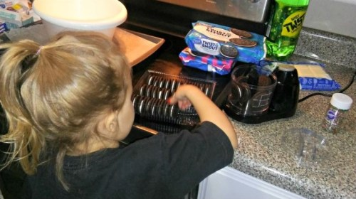 Putting oreos in the blender for a Christmas truffle