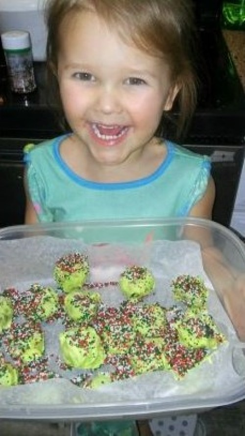 Claire is proud of her truffle creations!