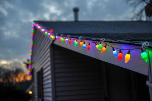 Christmas lights on old houses