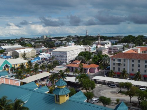 Beautiful buildings at Nassau port