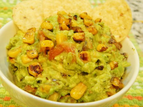 Fire-roasted corn guacamole--a knockoff recipe from one of my favorite restaurants!