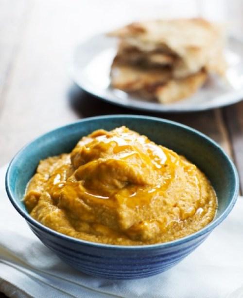 Roasted Garlic & Rosemary Pumpkin Hummus from Pinch of Yum