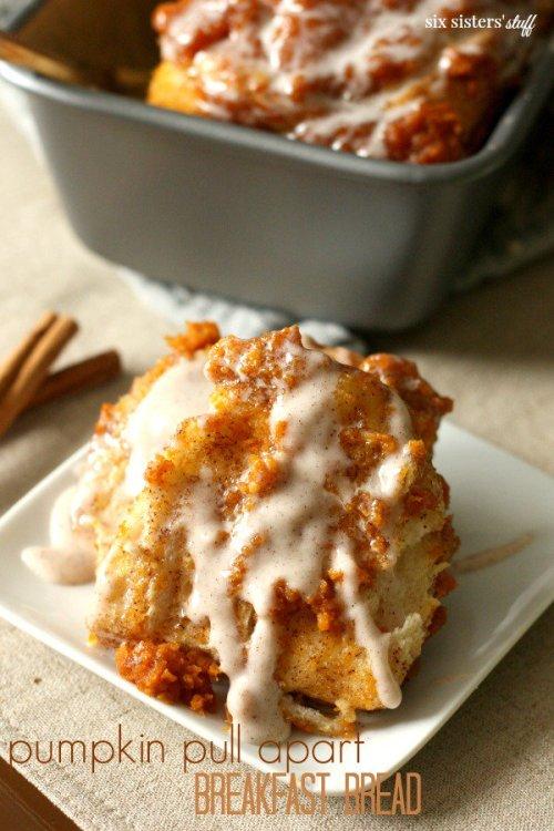 Pumpkin Pull Apart Breakfast Bread from Six Sisters' Stuff