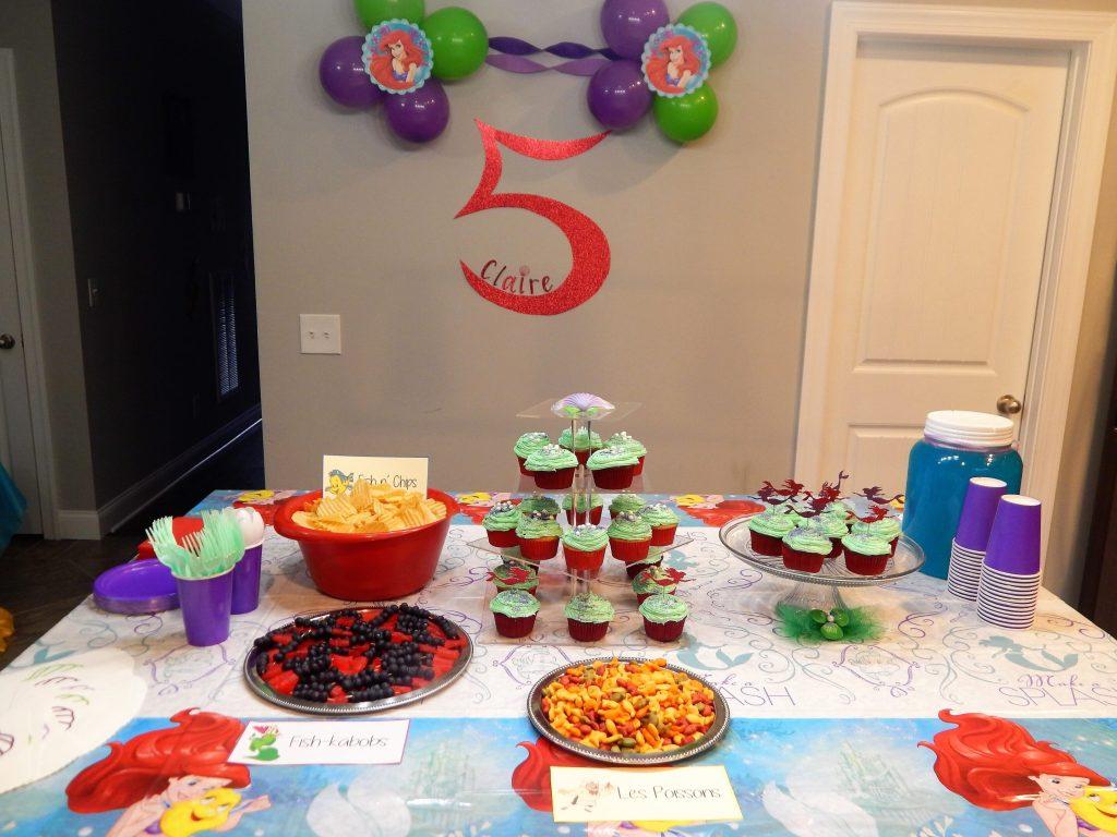 Little Mermaid birthday party spread