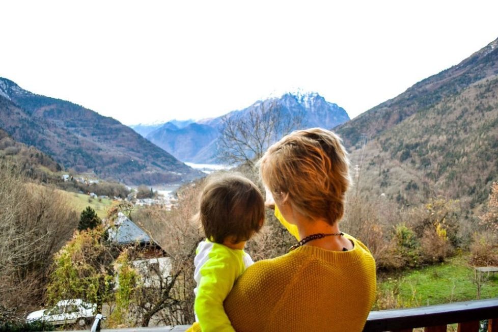 Catered chalet vaujany view from balcony with toddler