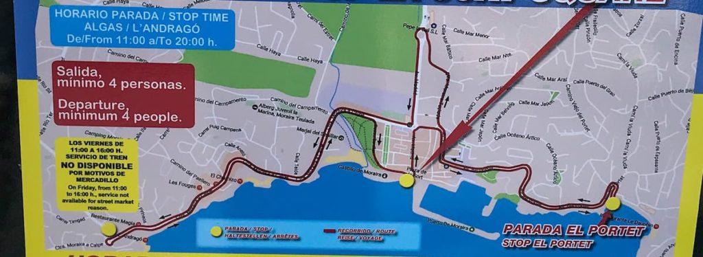 Moraira tourist train route