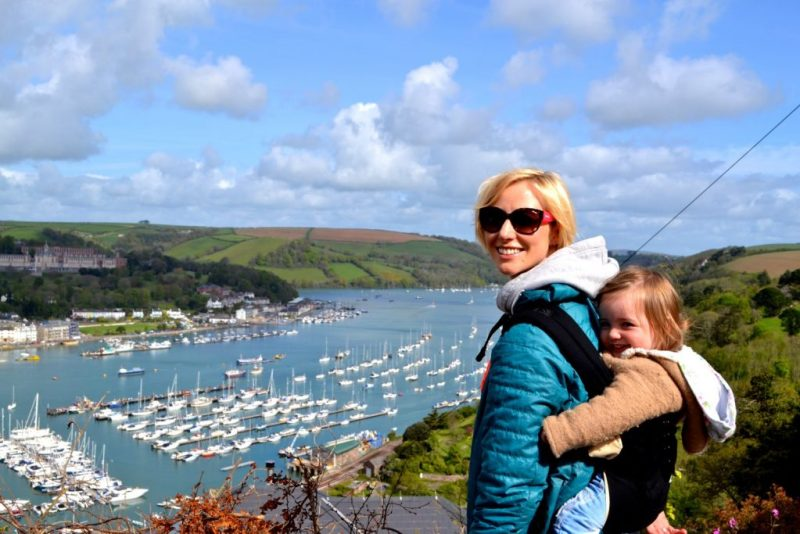 View from Kingswear over Dartmouth, wearing a toddler in an ergobaby 360