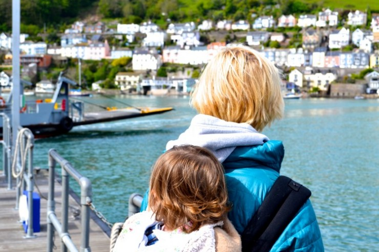 Dartmouth ferry, wearing a toddler in a sling