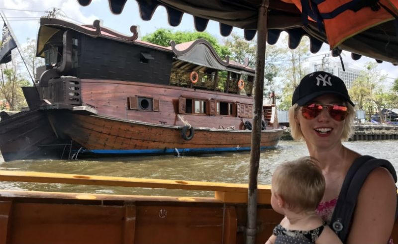 wearing a baby carrier on a Boat, Bangkok