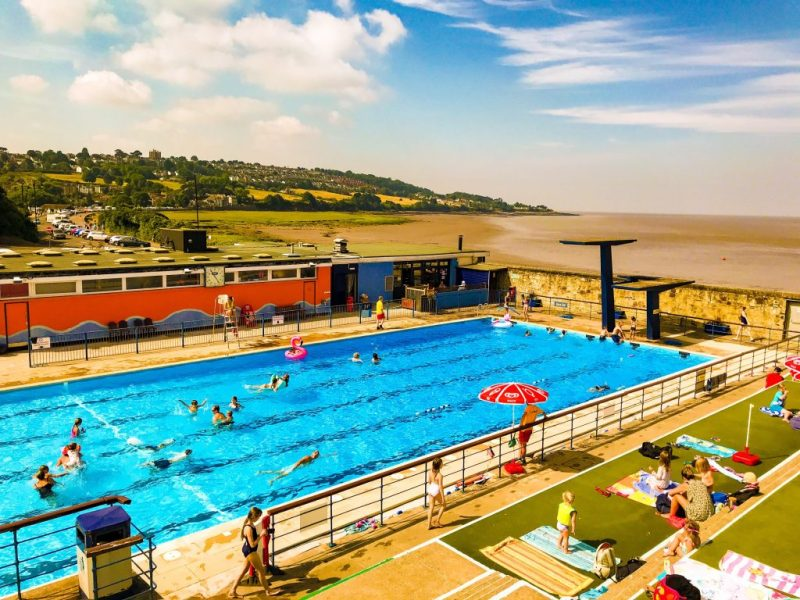 Portishead Lido, beach and Bristol Channel