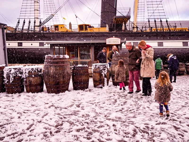 Playing in the snow at Brunel's SS Great Britain