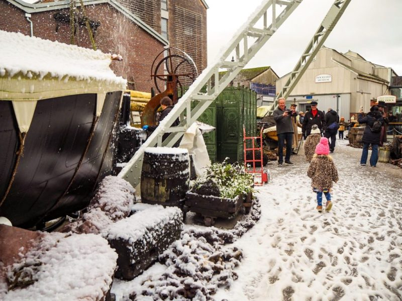Playing in the snow - Victorian Christmas Weekend Brunel's SS Great Britain