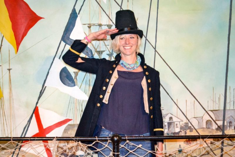 Dressing up in Victorian sailing outfits at Brunel's SS Great Britain
