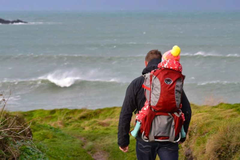 Hiking in Polzeath, Cornwall with the Osprey Poco baby carrier