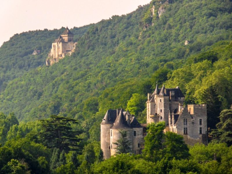 Dordogne valley view of two chateaux france