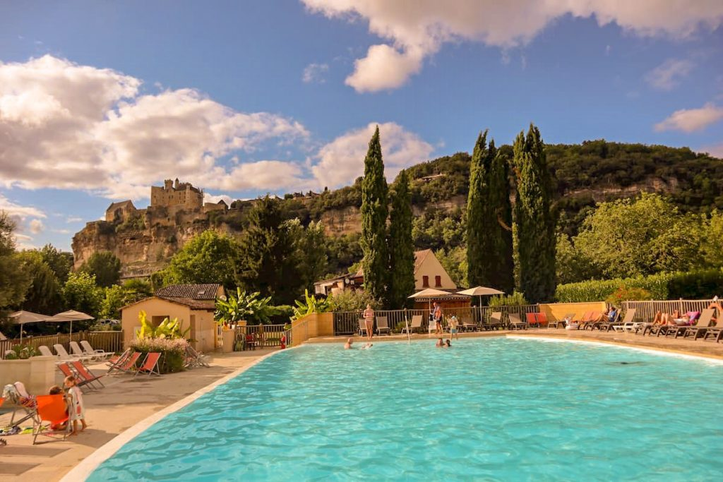 Swimming pool camping le capeyrou Beynac Dordogne France