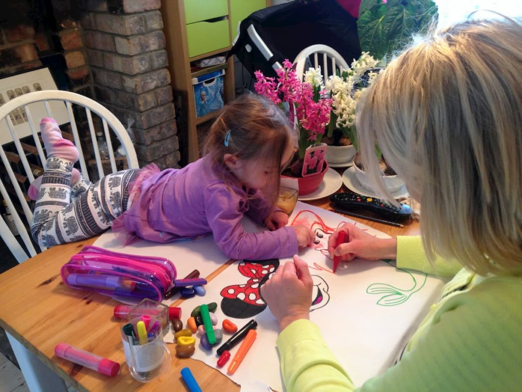 colouring with kids at home