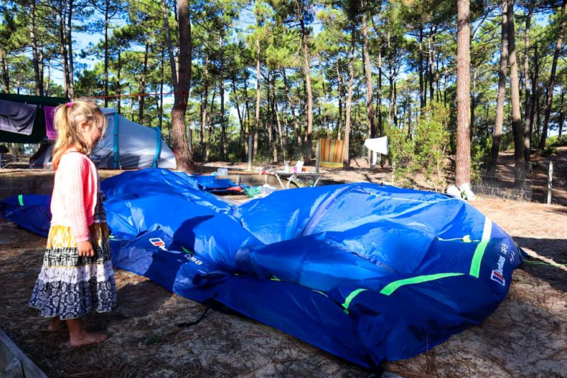 Inflating the Berghaus Air 8 tent on a French campsite