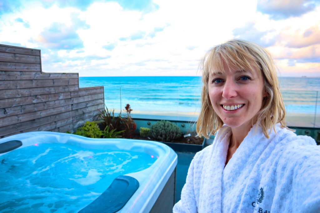 Hot tub experience overlooking the sea at Carbis Bay hotel C Bay spa