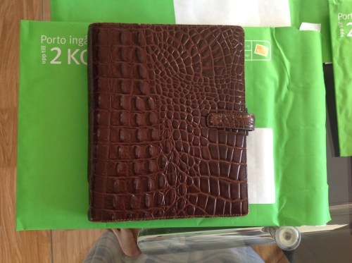 Brown A5 Amazona going to Paula Gibbens. This is a beautiful binder - perfect rings and pristine full leather inside.