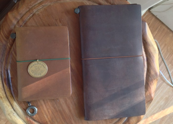 Camel Star Edition on left with charm on bookmark and charm on closure elastic.