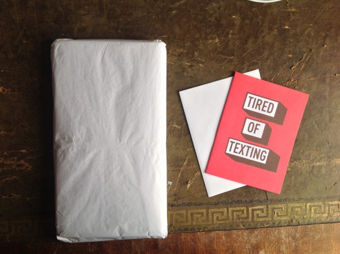 Beautifully wrapped with a handwritten (very appropriate) card. My cat will love the tissue paper!