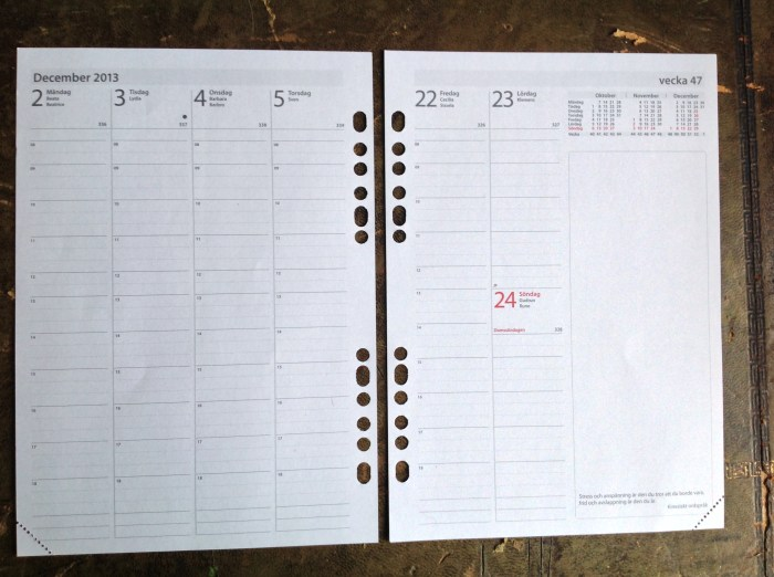 Burde Week on Two Pages with extremely useful 'boxes' - for me it helps 'contain' my writing.